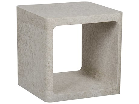 Noir Furniture Cubo White Marble 20'' Square Side Table