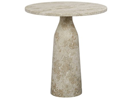Noir Furniture Lorenzo White Marble 23'' Round Pedestal Table