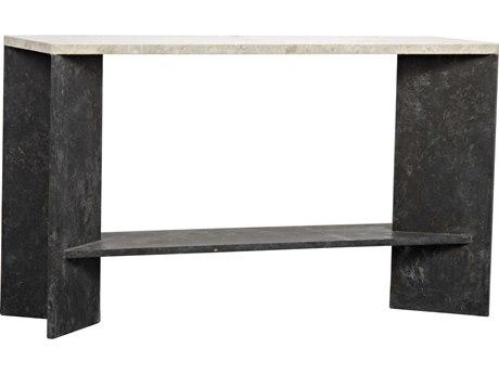 Noir Furniture Anvil Black & White Marble 51.5'' x 16'' Rectangular Console Table