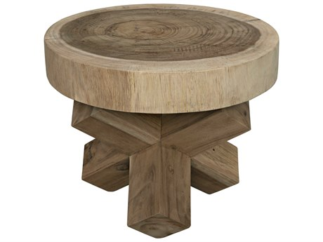 Noir Furniture Morty Table Munggur Wood 16.5'' Round End Table