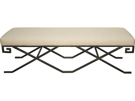 Noir Furniture Living Room Accents Metal / Light Linen Accent Bench NOIGBEN128MT