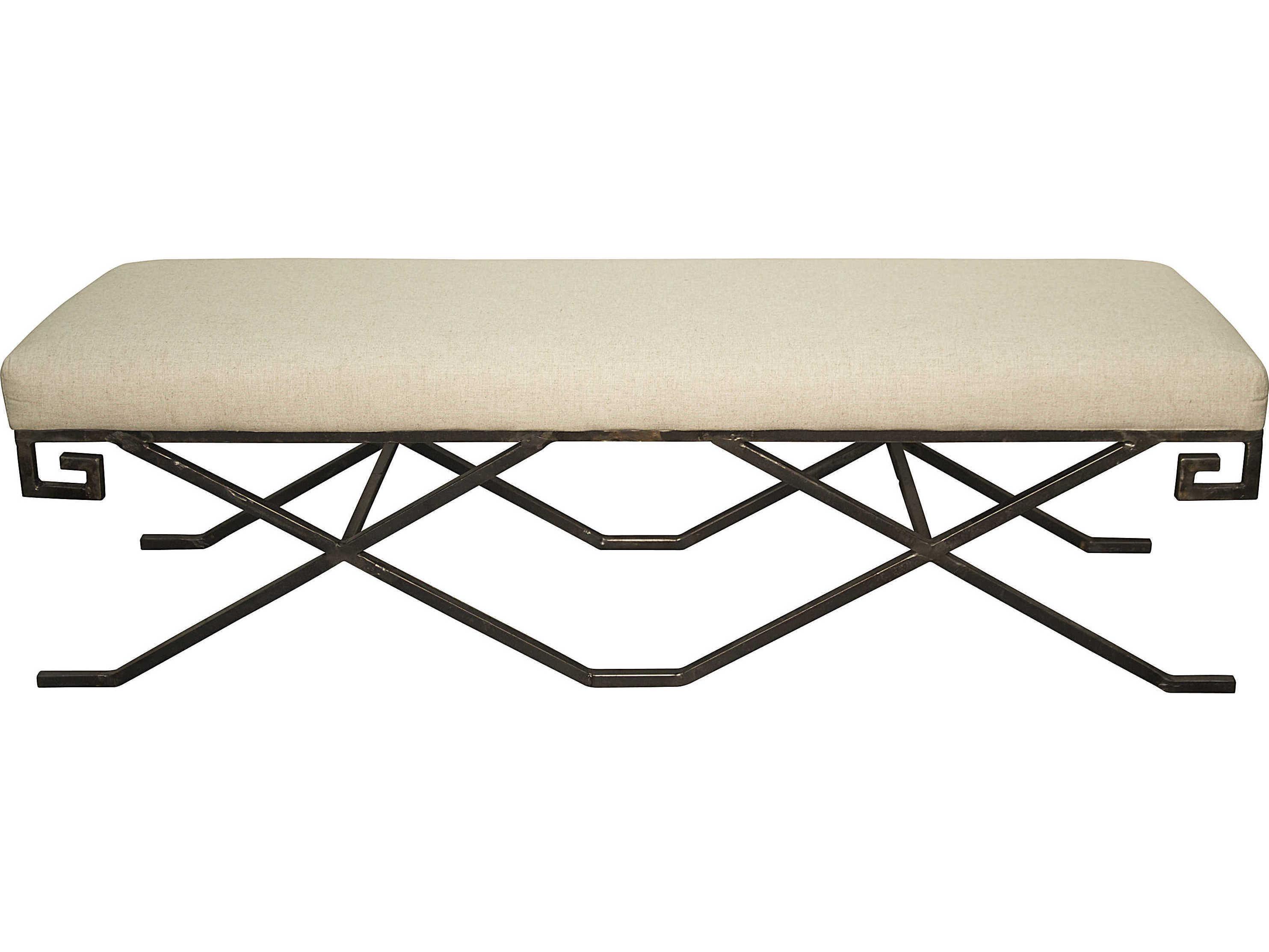 Noir Furniture Living Room Accents Metal / Light Linen Accent Bench