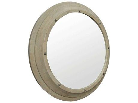 Noir Furniture Porthole Vintage Grey 42'' Round Large Wall Mirror