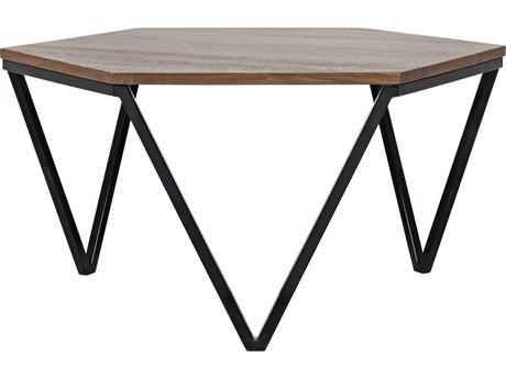 Noir Furniture Hexagon Dark Walnut 36.5'' x 36.5'' Hexogonal Coffee Table
