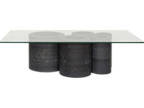 Noir Furniture Golyath Black Stone & Glass 62'' x 32'' Rectangular Coffee Table