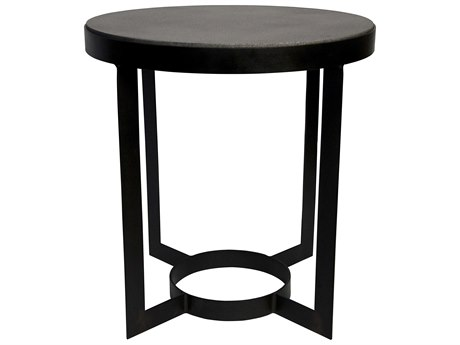 Noir Furniture Parker Metal & Stone 25'' Round Foyer Table