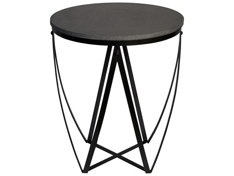 Noir Furniture Diagram Stone & Metal 24.5'' Round Foyer Table