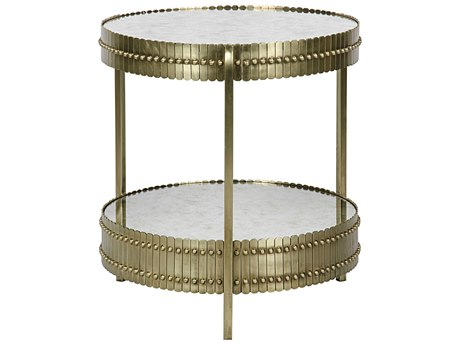 Noir Furniture Lace Antique Brass 26'' Round Foyer Table