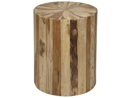 Noir Furniture Round Teak Wood 16'' Round Drum Table