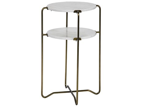 Noir Furniture Plato Metal & Quartz 18.5'' Round Foyer Table