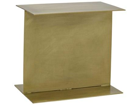 Noir Furniture I-Beam Antique Brass 12.5'' x 20'' Rectangular Side Table