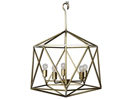 Noir Furniture Alden Antique Brass Five-Light 21.5'' Wide Chandelier