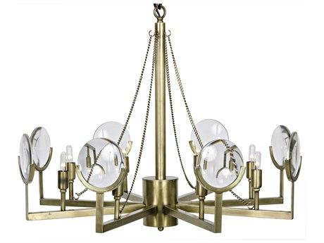 Noir Furniture Pia Antique Brass Eight-Light 31'' Wide Chandelier