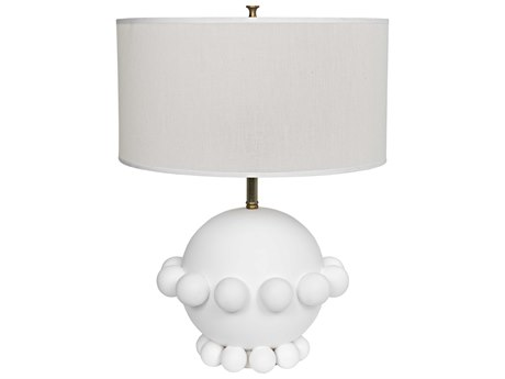 Noir Furniture Scepter White Ceramic Table Lamp with Black Shade