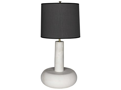 Noir Furniture White Marble Oblong Buffet Lamp with Black Shade