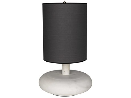 Noir Furniture Oblony White Marble Buffet Lamp with Black Shade