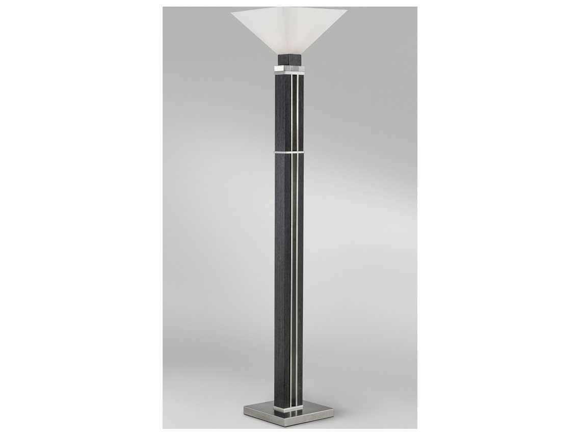 Zebra Floor Lamps : Nova attitude zebra wood brushed nickel torchiere floor lamp nov
