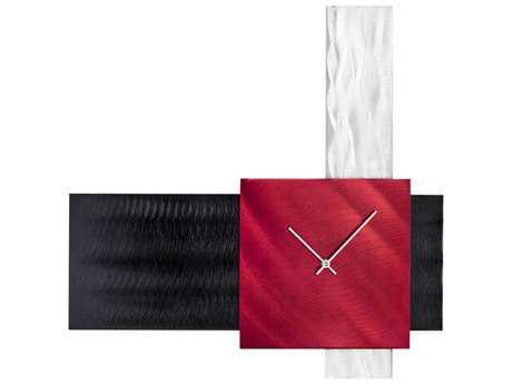 Nova Align Black & Brushed Aluminum Wall Clock