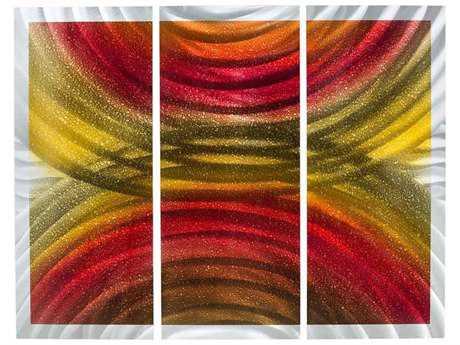 Nova Rainbows Brushed Aluminum & Red Wall Art