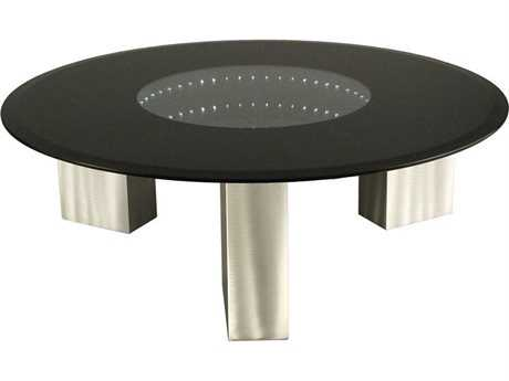 Nova Stealth 42'' Round Black & Brushed Aluminum Coffee Table