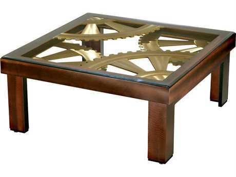 Nova Gears 36'' Square Root Beer & Bronze Coffee Table