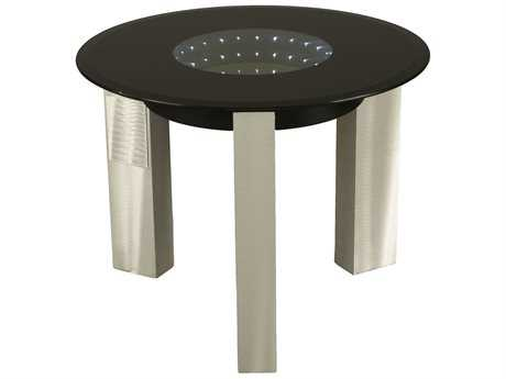 Nova Stealth 24'' Round Brushed Aluminum & Black End Table with Battery