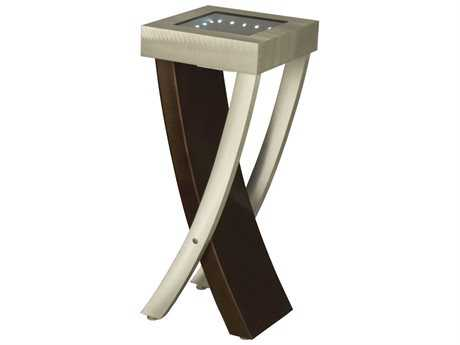 Nova Boar 13'' Square Brushed Aluminum & Root Beer End Table