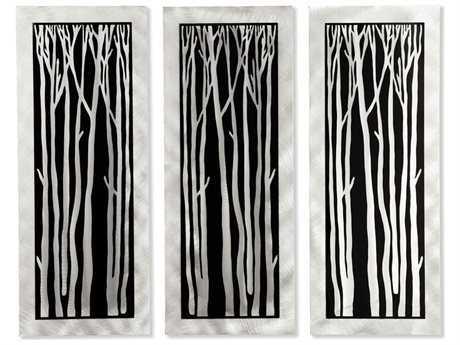 Nova Silver Birch Brushed Aluminum & Black Graphic Wall Art