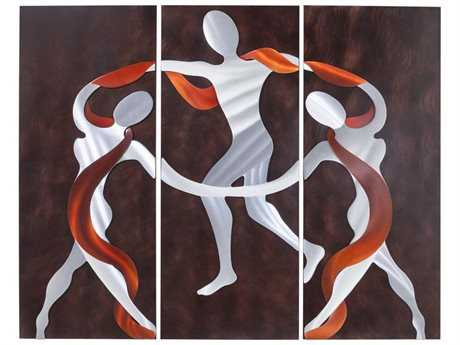 Nova Scarf Dance Brushed Aluminum & Root Beer Graphic Wall Art