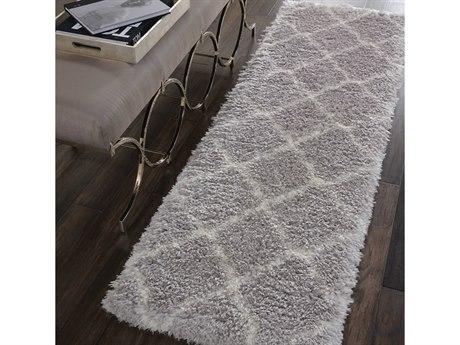 Nourison Luxe Shag Grey / Ivory 2'2'' x 7'6'' Runner Rug