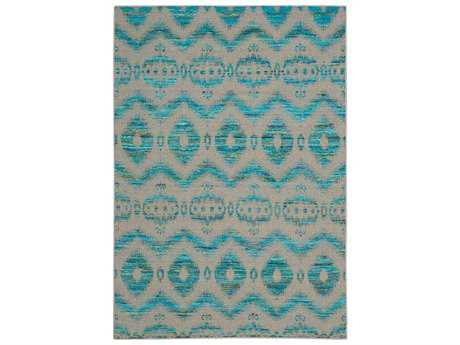 Nourison Spectrum Rectangular Turquoise Grey Area Rug