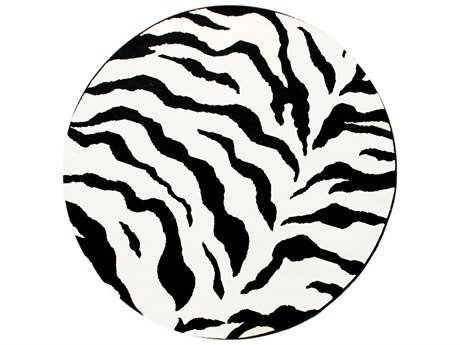 nuLOOM Zebra White & Black 6' Round Area Rug