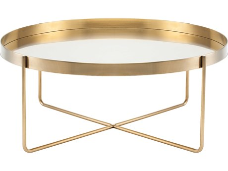 Nuevo Gaultier Brushed Gold 40'' Wide Round Coffee Table