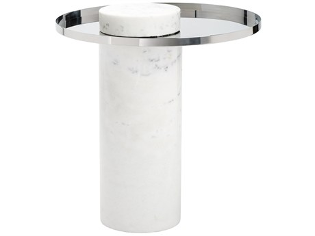 Nuevo Pillar Polished Silver 19.75'' Wide Round Pedestal Table