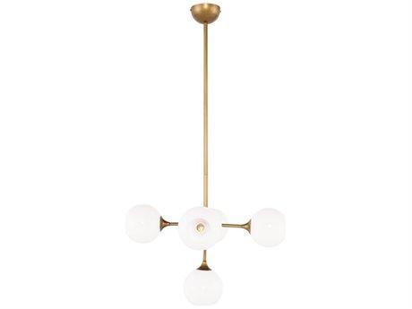 Nuevo Living Niklas White / Antique Gold Five-Light 23.8'' Wide Pendant Light