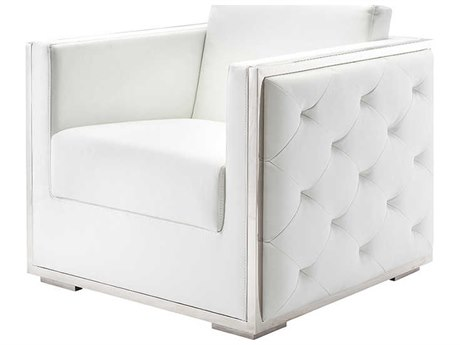Nuevo Living Boxer White Accent Chair