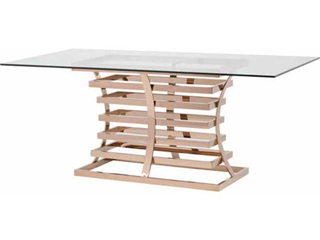 Nuevo Living Qubix 78'' x 42'' Rectangular Gold Dining Table