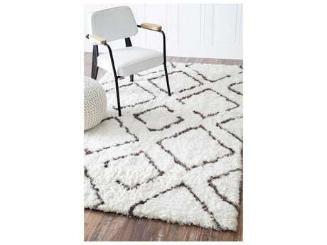 Nuloom Bridgette Shaggy Ivory Brown Rectangular Area Rug
