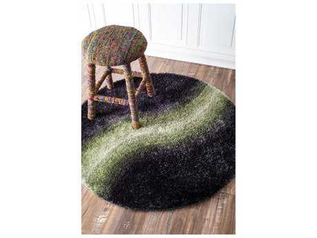 Nuloom Ombre Shiloh Shag Black Round Area Rug
