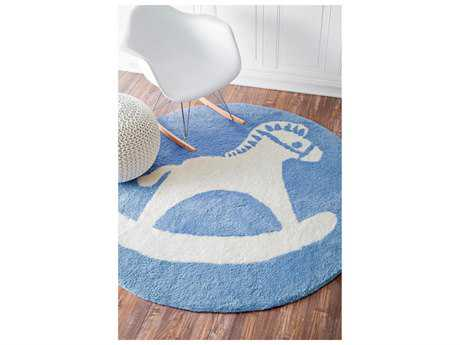Nuloom Carrousel Hand Tufted Rocking Horse Baby Blue 5' Round Round Area Rug
