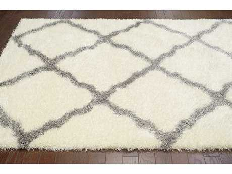 nuLOOM Bobo Shag White & Grey Rectangular Area Rug