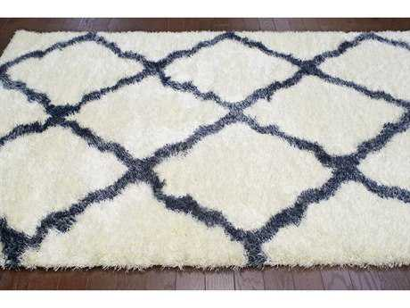 nuLOOM Bobo Shag White & Blue Rectangular Area Rug