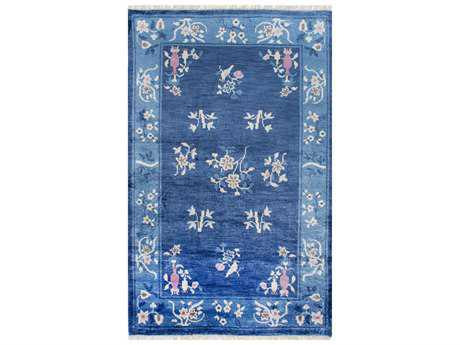 Nuloom Country & Floral Hand Knotted Jean Chinese Art Deco Blue Area Rug