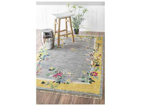 Nuloom Country & Floral Hand Knotted Darrin Chinese Art Deco Grey Area Rug