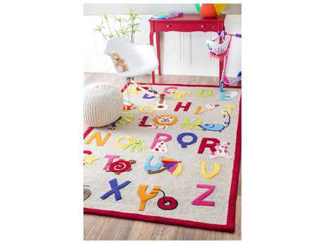 Nuloom Kinder Hand Tufted Animal Alphabet Beige 5' x 7' Area Rug