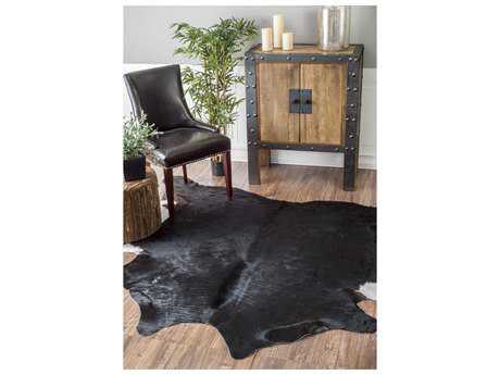 Nuloom Handmade Cowhide Magali Black 4'6'' x 6' Area Rug