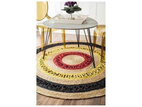 Nuloom Natura Hand Woven Chisolm Red Round Area Rug