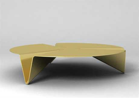Orange22 Carbon 50'' Round Gold Low Gravity Coffee Table