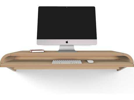 Orange22 Minimal Rift Oak 51''L x 16''D Rectangular Large Wall Mounted Desk with Pull-Out Drawer