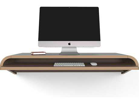 Orange22 Minimal Walnut 51''L x 16''D Rectangular Large Wall Mounted Desk with Pull-Out Drawer